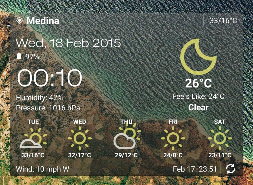 Madina temperature