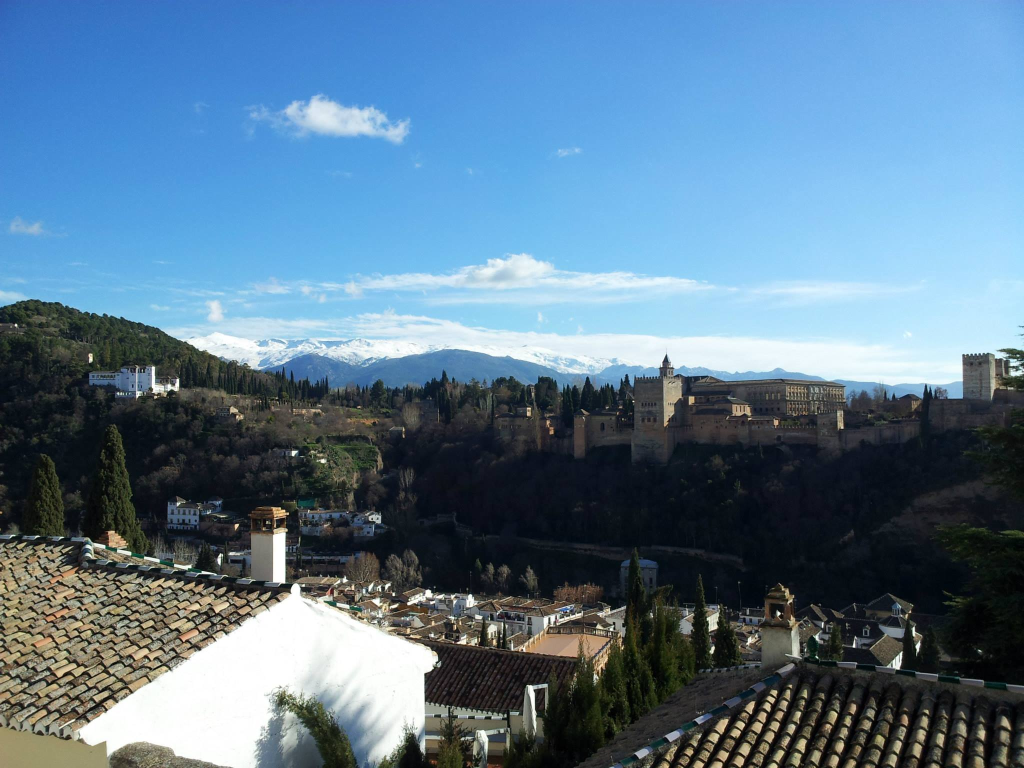 View of the Alhambra and Sierra Nevada mountains