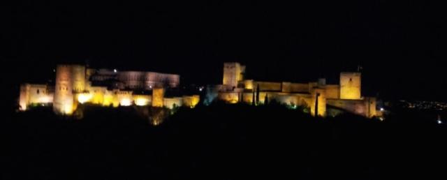 Alhambra Palace at night. (Seen from Mezquita Mayor de Granada)