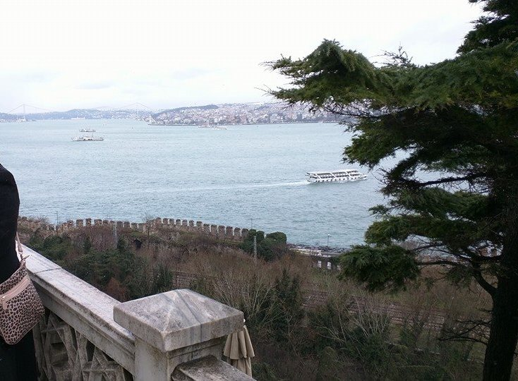 View of Bosphorus and Asian side Istanbul from Topkapi Palace gardens.