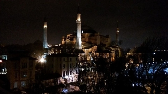 Hagia Sophia night time view from our hotel in Sultanahmet.