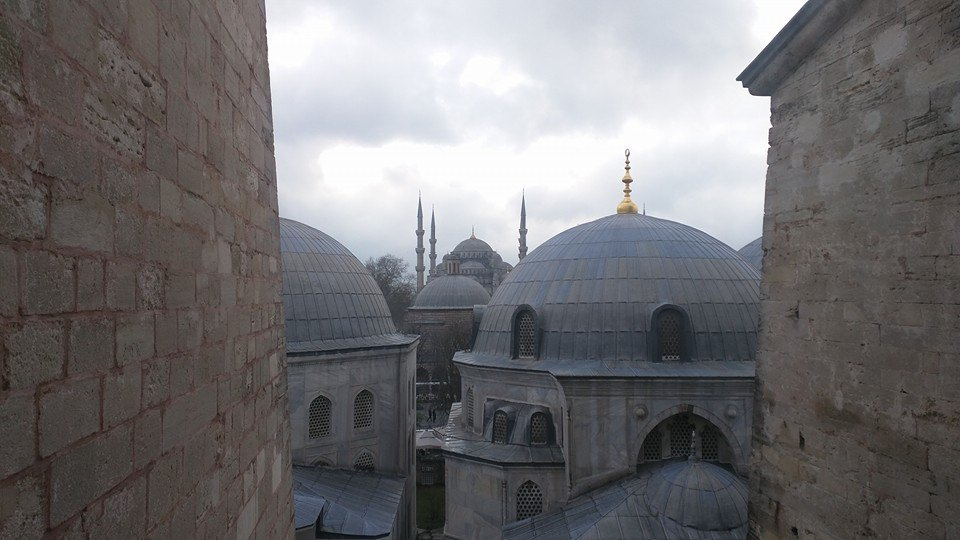 View of Blue Mosque from top floor of Hagia Sophia