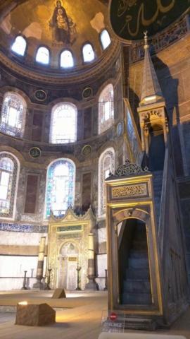 Minbar and Mihrab inside Hagia Sophia