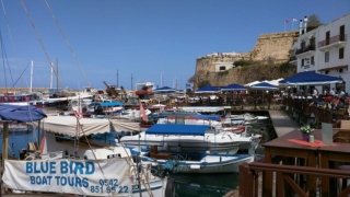 Kyrenia town harbour, with Castle view.