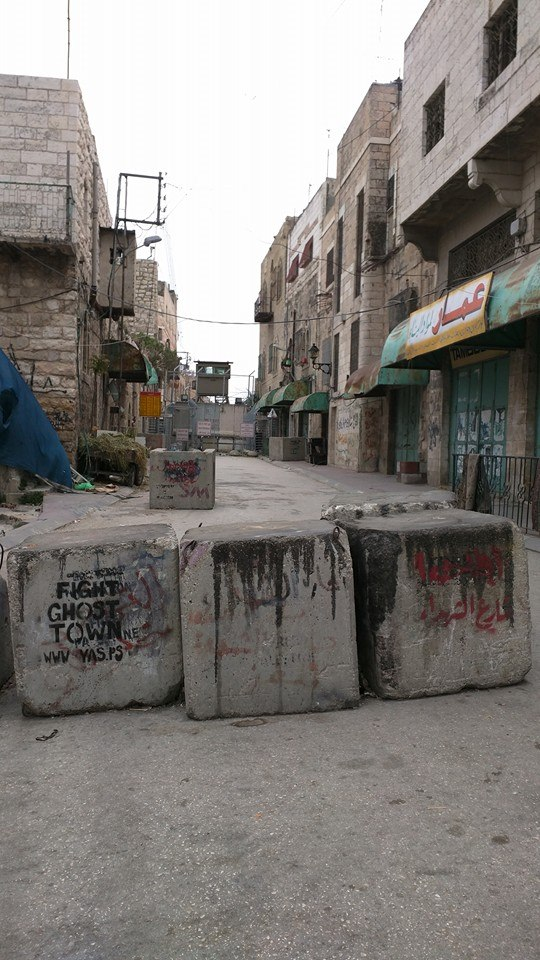 Zionist road blocks in Hebron