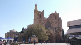 Full view of Lala Mustafa Pasha Masjid from up the hill in Famagusta.