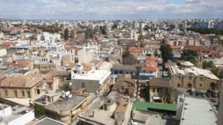 East Nicosia. You might just be able to see the Omeriye Masjid.
