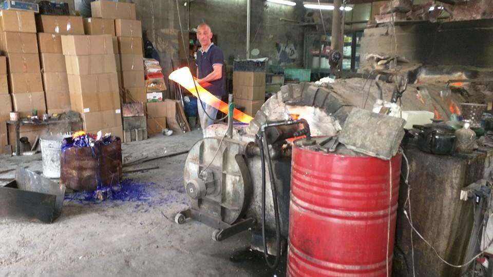 Hebron glass-blowing workshop.