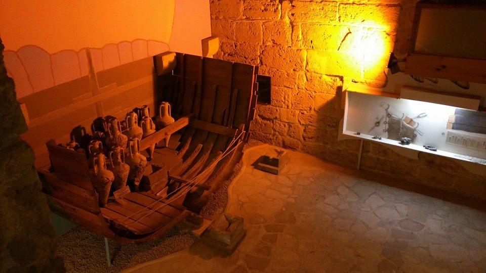The Girne Shipwreck (world's oldest shipwreck) inside Kyrenia Castle.