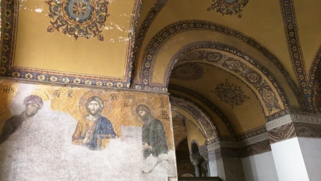 Mosaic inside the Hagia Sophia