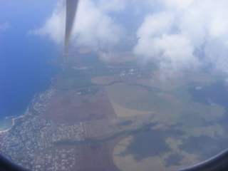 My first view of Mauritius as the aeroplane arrives over the island.