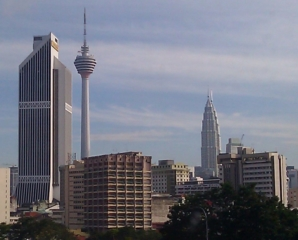KL Tower (left) and Petronas Twin Towers (right)