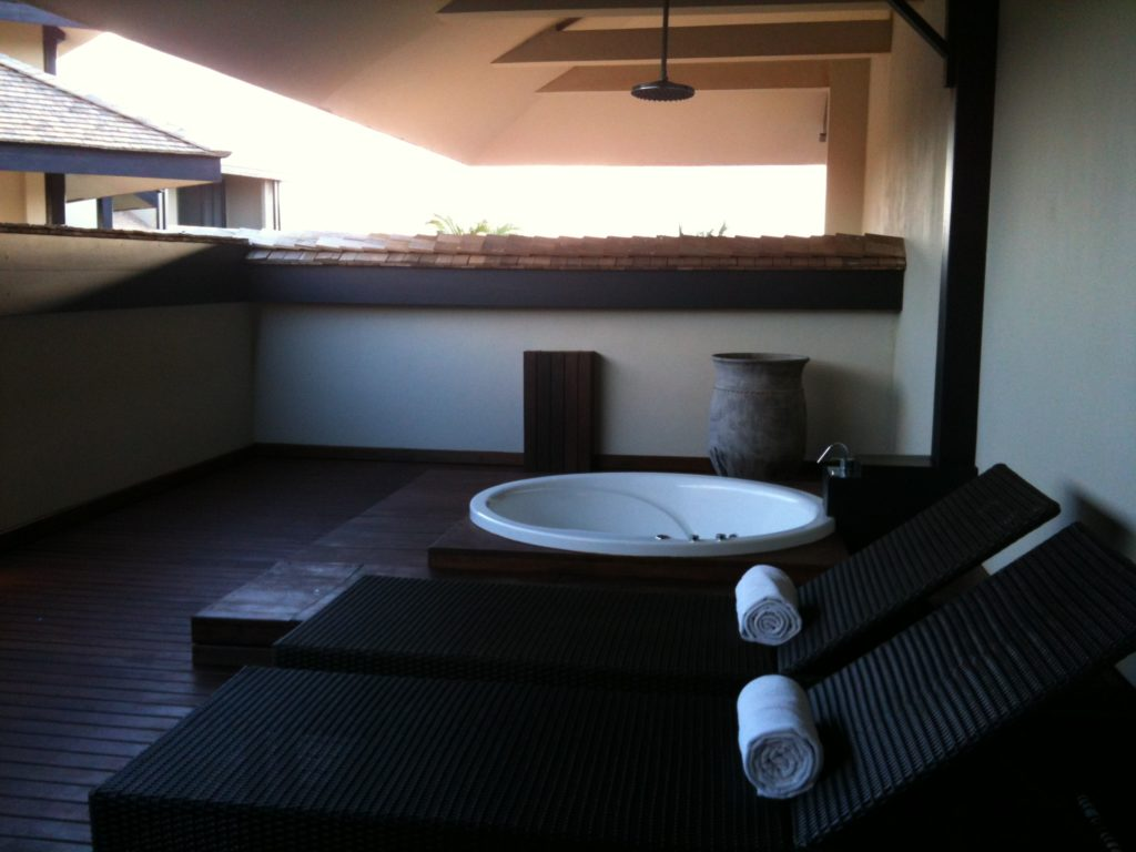 That's right. The Presidential Suite comes with it's own outdoor terrace with Hot Tub / Shower combo.