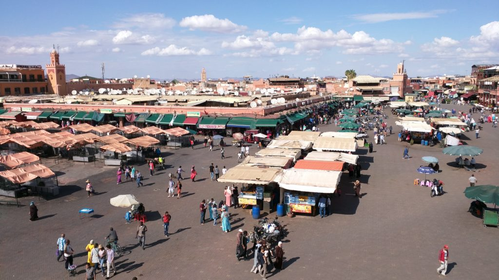 "View of ""Food Street"" on Djemaa El-Fna, from the roof terrace."