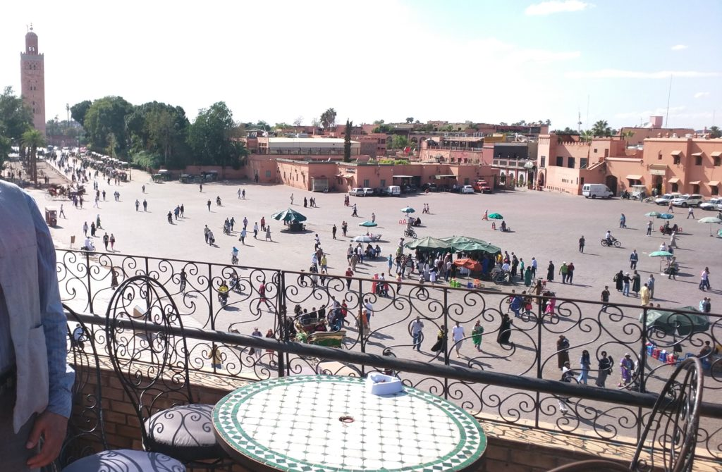 View of Koutoubia and Djemaa El-Fna