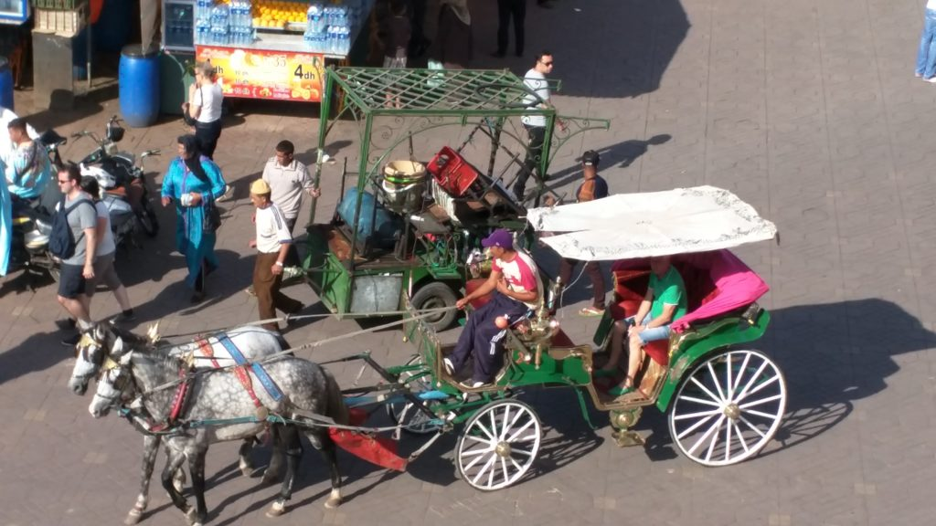 Horse buggies on Djemaa El-Fna.