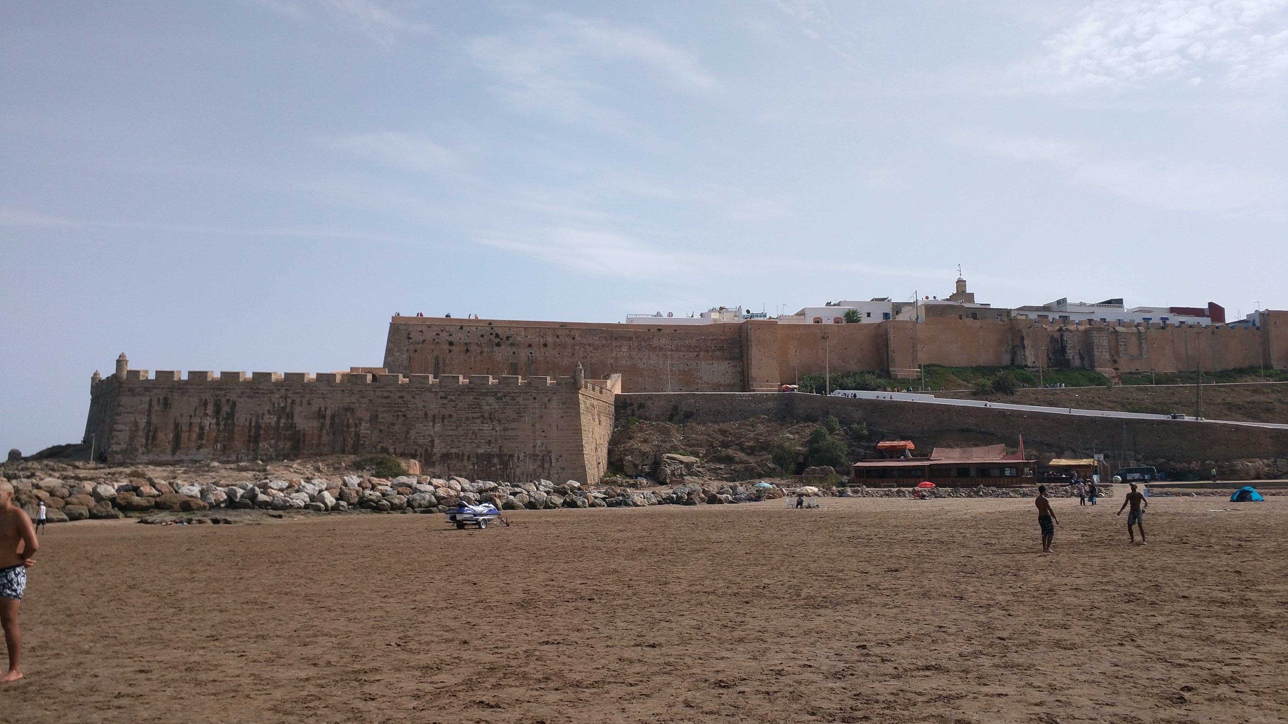 View of Kasbah from Plage de Rabat (Rabat beach)