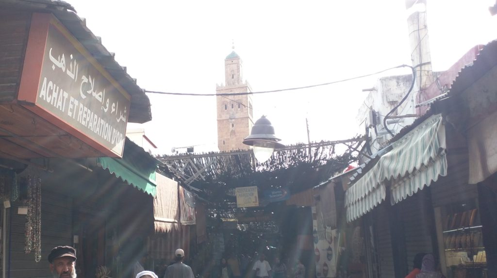 Rabat old city (Medina) with Minaret of Grand Mosque behind.