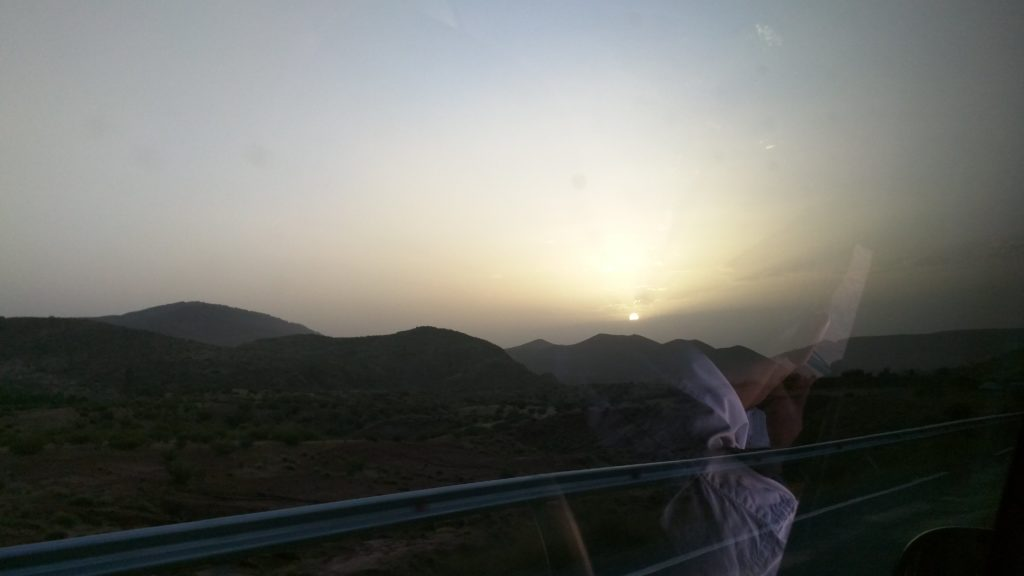 Sunset over the Atlas Mountains.